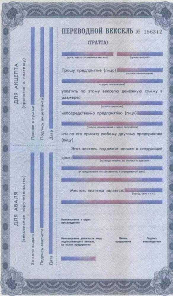 Бланки векселей (простого и переводного) и правила заполнения